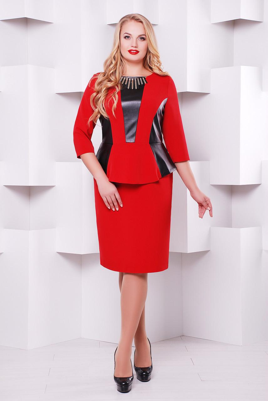 Стильное платье Елена бордо (экокожа)