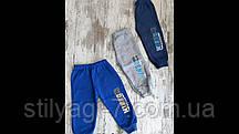 Спортивные штаны для мальчика на 1-4 лет синего, серого цвета с надписью на манжете оптом