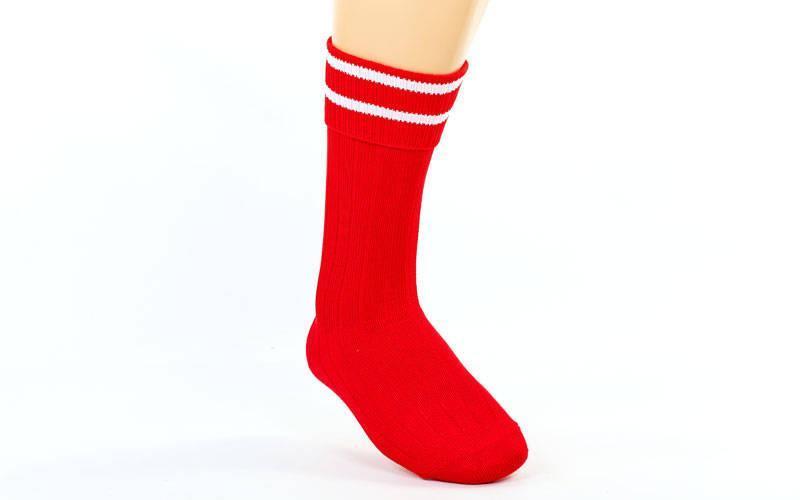 Гетры футбольные юниор красные с белой полосой CO-5608-DB