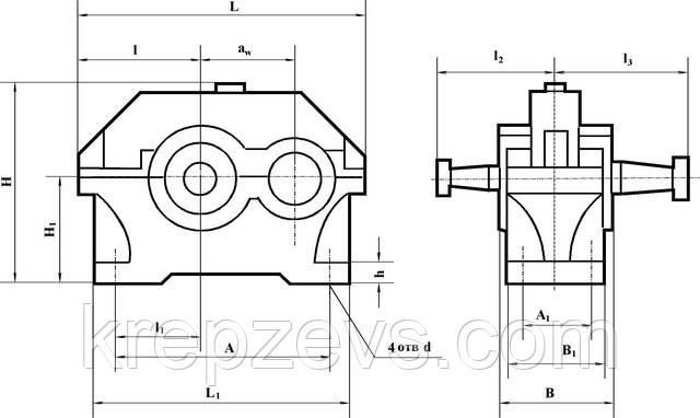 Купить узкий цилиндрический редуктор 1ЦУ-200