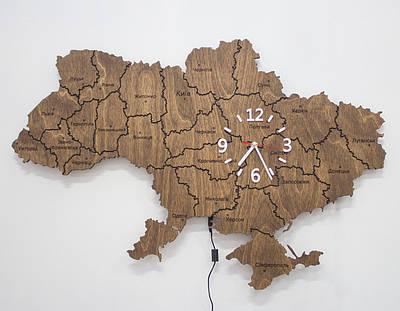 Карта Украины из подсветкой и часами