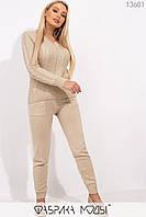 Вязаный костюм: джемпер с фактурной вязкой спереди и брюки средней посадки с кулиской и карманами на манжетах 13601, фото 1
