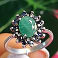 Серебряное кольцо с натуральным сапфиром и изумрудом, фото 5