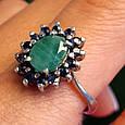 Серебряное кольцо с натуральным сапфиром и изумрудом, фото 3