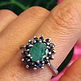 Серебряное кольцо с натуральным сапфиром и изумрудом, фото 2