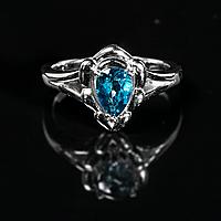 Серебряное кольцо с Лондонским топазом, 7*5 мм., 1234КТ