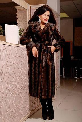 Шикарная длинная шуба с капюшоном из качественного эко меха коричневая норка с 42 по 52 размер, фото 2
