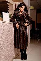 Шикарная длинная шуба с капюшоном из качественного эко меха коричневая норка с 42 по 52 размер