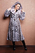 Шикарная длинная шуба с капюшоном из качественного эко меха коричневая норка с 42 по 52 размер, фото 3