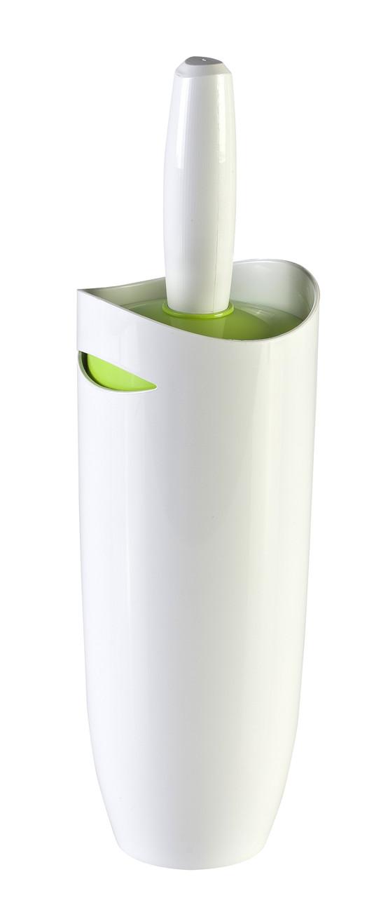 Ёрш с подставкой для унитаза Primanova (бело-салатовый)