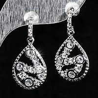 Срібні сережки з цирконом, 462СЦ