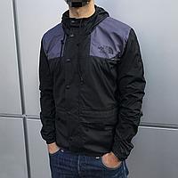 Куртка ветровка мужская The North Face черная с серым
