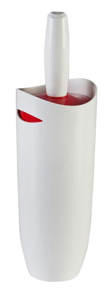 Ёрш с подставкой для унитаза Primanova (бело-красный)