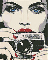 Алмазная мозаика Девушка с фотоаппаратом, 40x50 см, Идейка
