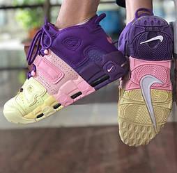 Женские кроссовки Nike Air More Uptempo in Pink, Purple & Yellow. Фото в живую (Реплика ААА+)