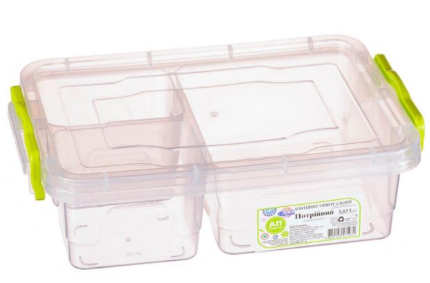 Контейнер для хранения продуктов с зажимами, тройной - 1,63л