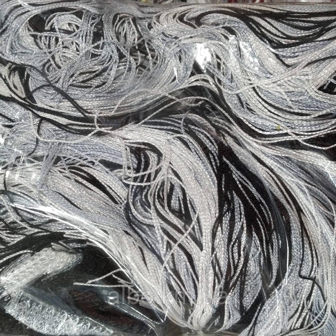Шторы нити радуга без люрекса 300x280 cm Бело-серо-черные (Ki-1207)