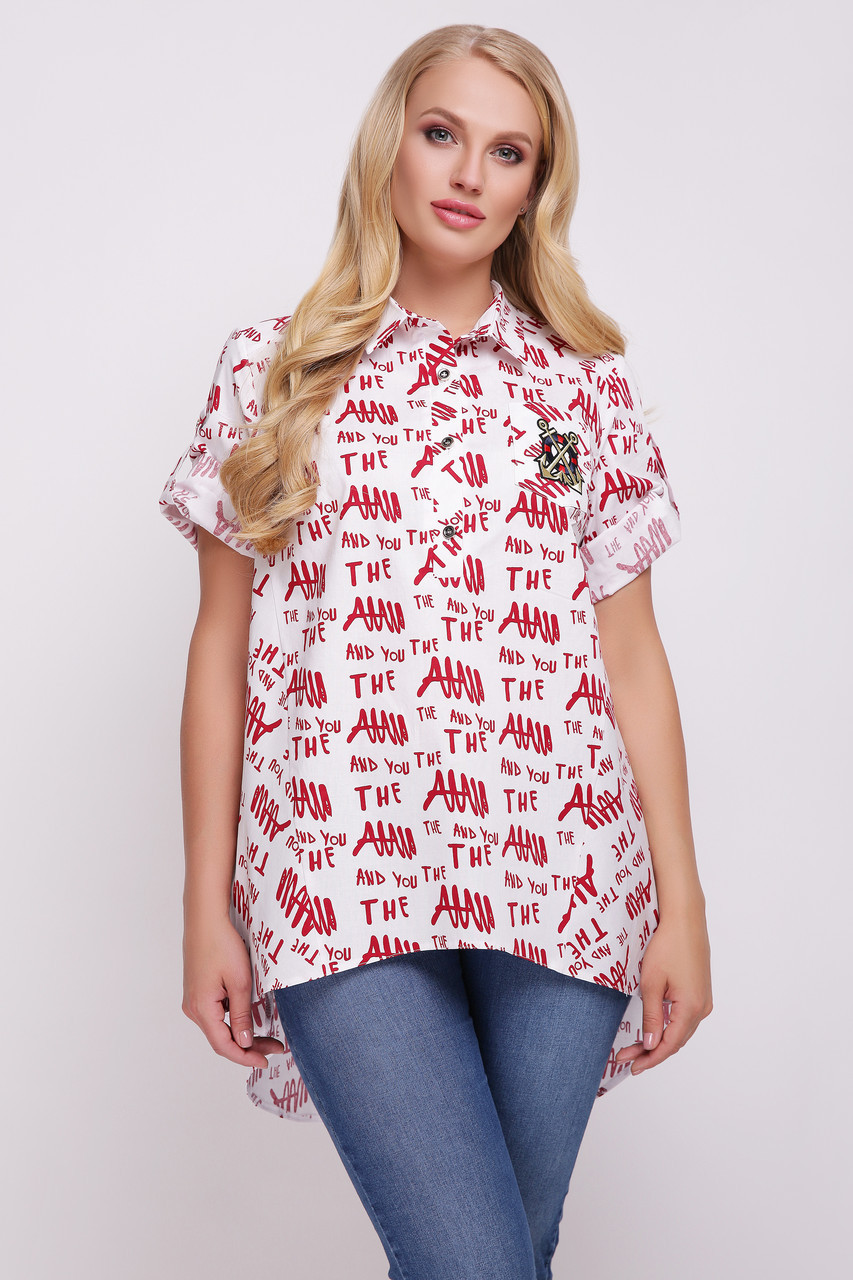 Рубашка женская Ангелина газета красная