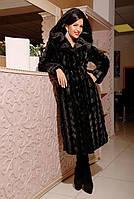 Красивая длинная шуба с капюшоном из эко меха чёрная норка с 42 по 52 размер