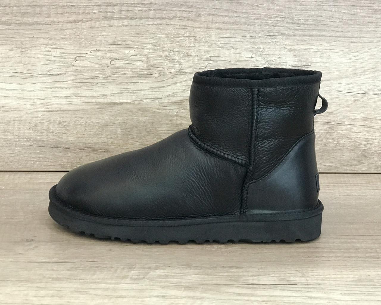 Угги мужские черные кожанные мини классик 2 UGG Men's Mini Classik II Black Leather