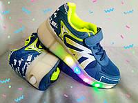 Хилисы! Светящиеся кроссовки ролики на колесиках р. 30-33