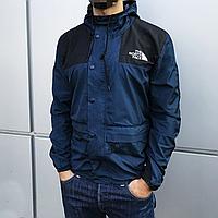 Куртка ветровка мужская The North Face синяя с черным