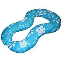 Подушка для беременных Комфорт цвет Love бирюзовый