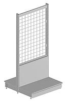 Стеллаж торговый островной (двухсторонний) с сетчатой панельной стенкой WIKO для магазина, фото 1
