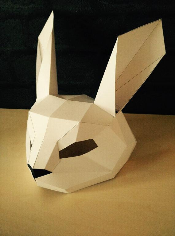 Papercraft Маска зайца половинка