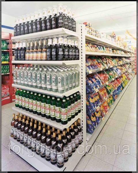 Стеллаж торцевой для магазина с усиленными полками под алкоголь WIKO. Торговое оборудование в магазин, фото 1