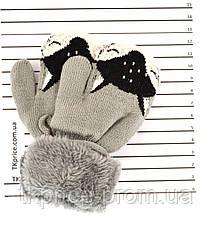 Детские шерстяные варежки на меху с веревочкой  - длина 12 см, фото 3