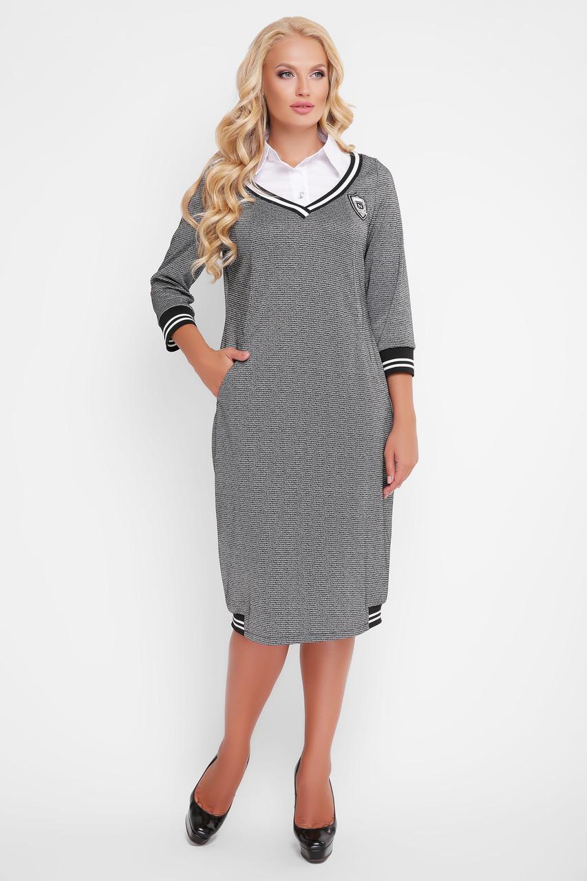 Женское платье Эка с отстежной манишкой гусиная лапка