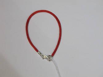Красный браслет с серебряной застежкой, размер 16, 0.9 г 875/925