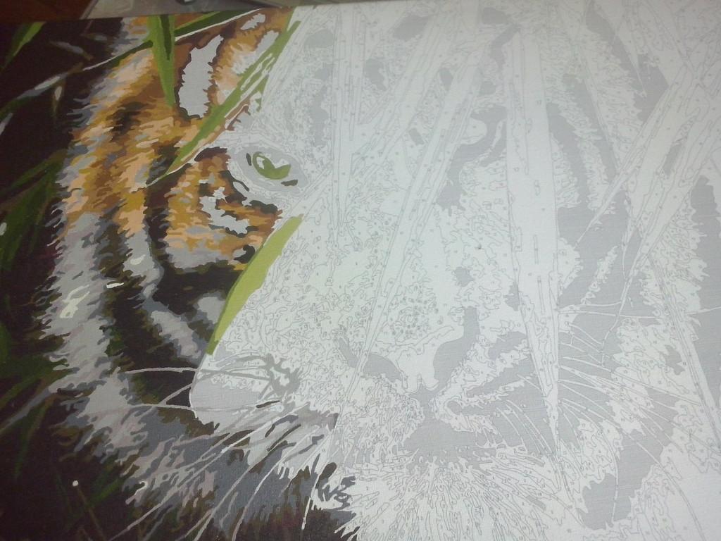 "Как рисовалась картина по номерам MENGLEI ""Амурский тигр"" MG1003 11"