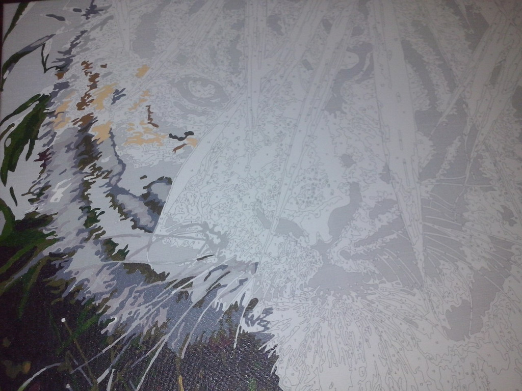 "Как рисовалась картина по номерам MENGLEI ""Амурский тигр"" MG1003 8"
