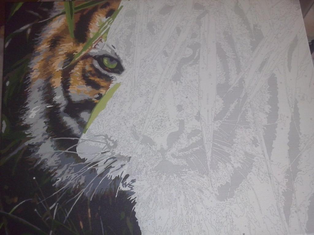 "Как рисовалась картина по номерам MENGLEI ""Амурский тигр"" MG1003 12"
