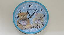 Часы в детскую комнату настенные мишки круглые  голубые 1469