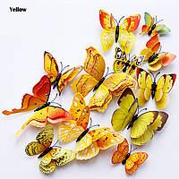 Бабочки двойные, наклейки на стену 3D бабочки (ЖЕЛТЫЕ) 12 шт. Бабочки интерьерные для декора.