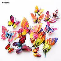 Бабочки двойные, наклейки на стену 3D бабочки (РАЗНОЦВЕТНЫЕ) 12 шт. Бабочки интерьерные для декора.