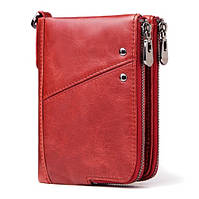 Кожаное женское портмоне Kavis красное