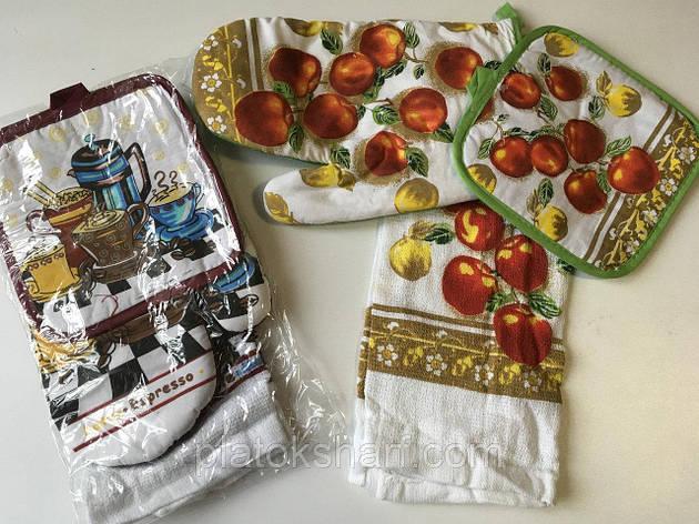 Кухонная прихватка с рукавицей и полотенцем, натуральное, фото 2