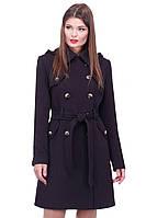 Стильное молодежное пальто с капюшоном и поясом
