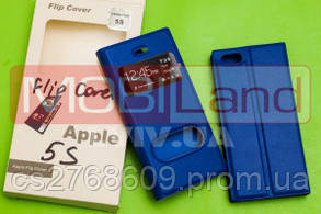 Чехол / Чохол-книжка Flip Cover Iphone 5G blue з віконцем