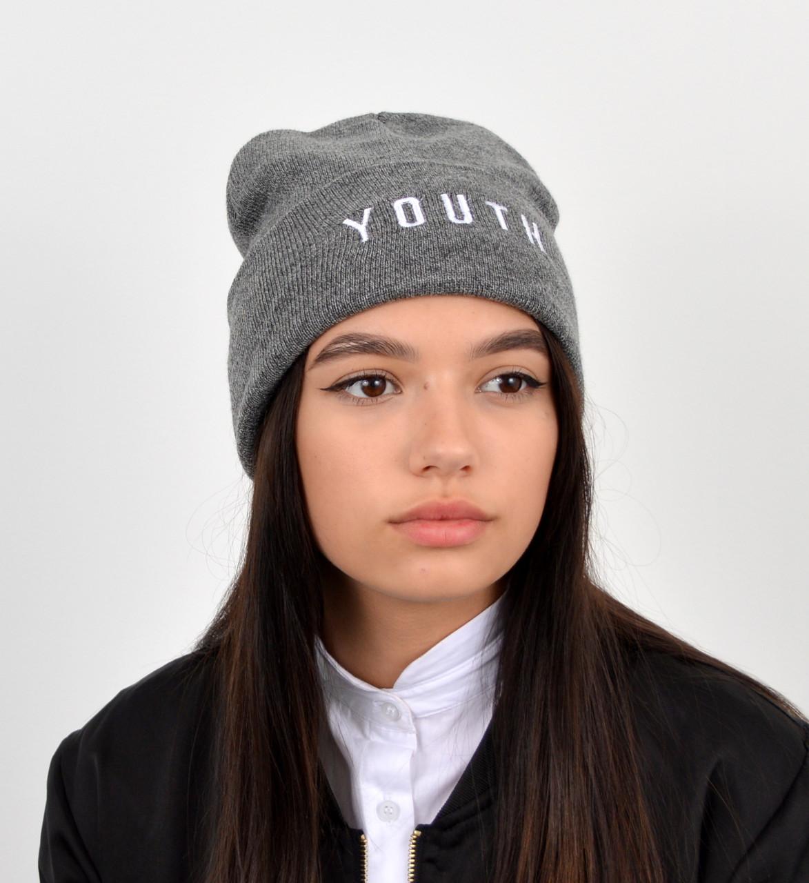 """Шапка """"Домик youth"""" серый"""
