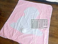 Вязаный с подкладкой детский плед одеяло 90*80 Зайка для новорожденных малышей детей в коляску 4953 Розовый