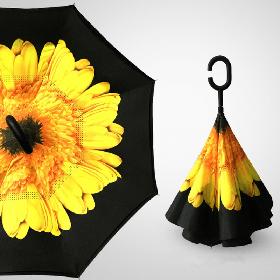 Зонт наоборот с Желтым цветком || Up-brella (анти-зонт)