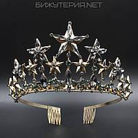 Диадема Звездочки JB на металлическом ободке Gold с кристаллами серого цвета  - 1042245686