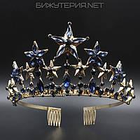 Диадема Звездочки JB на металлическом ободке Gold с кристаллами синего цвета  - 1042247334