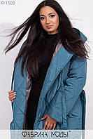 Стеганное пальто на подкладе с капюшоном и шалевым воротником, на запах с  двумя завязками и съемным поясом X11505