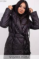 Стеганное пальто на подкладе с капюшоном и шалевым воротником, на запах с  двумя завязками и съемным поясом X11504, фото 1